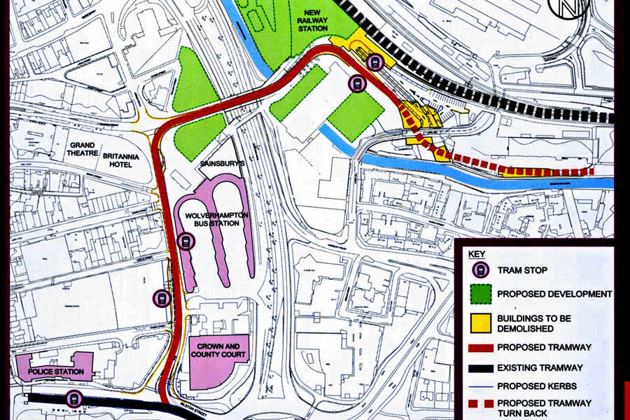 Map shows route of new 15m Midland Metro line Express Star